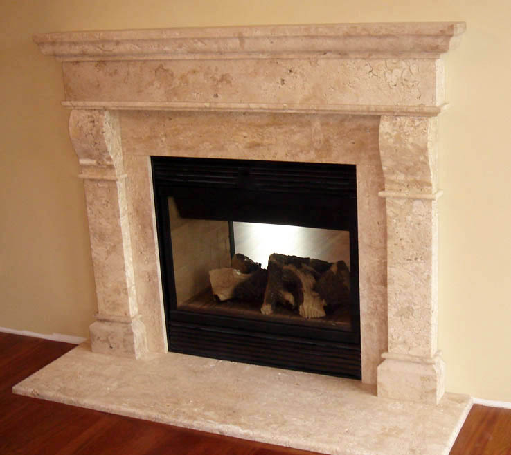 center bookcases built fireplace at surround in stone pin cast